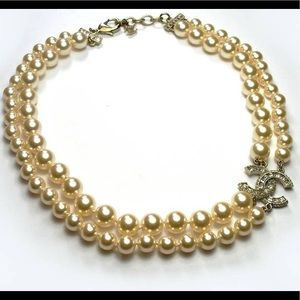 CHANEL DOUBLE STRAND PEARL CRYSTAL CC NECKLACE